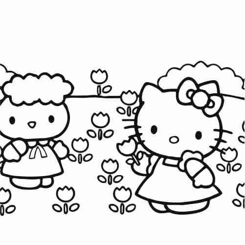 Hello kitty and flower girl friend coloring pages