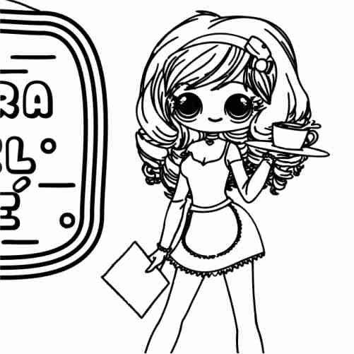 Kawaii tea girl coloring pages