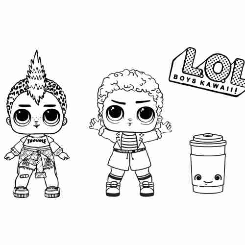 Lol boys kawaii coloring pages for kids