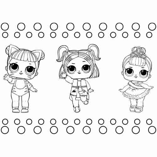 Cute LoL dolls coloring pages for kids