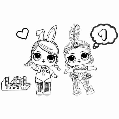 funny Bunny LoL doll coloring pages for kids