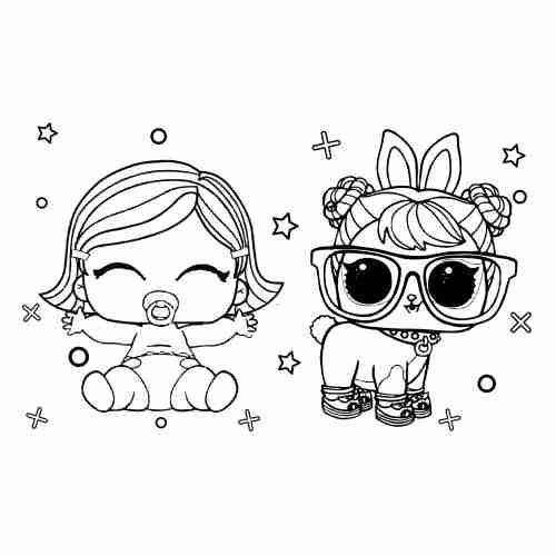 LoL surprise baby dolls coloring pages for kids