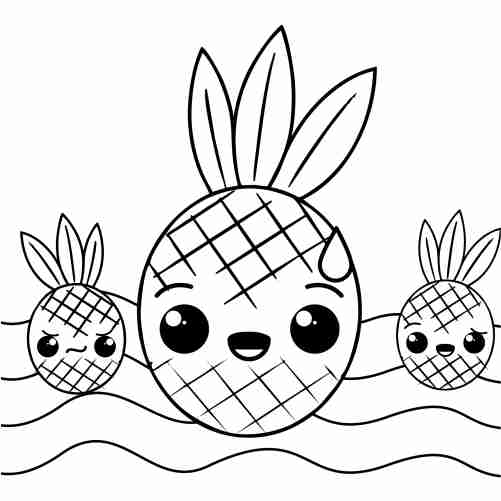 kawaii pineapples coloring pages for kids