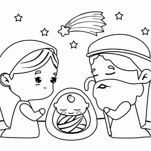 Kawaii baby jesus birth coloring pages