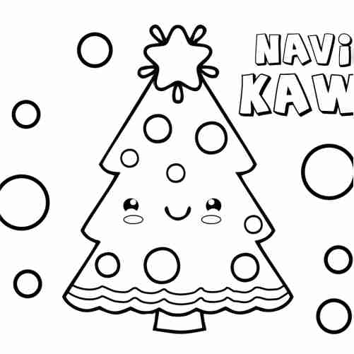 Kawaii christmas tree coloring page
