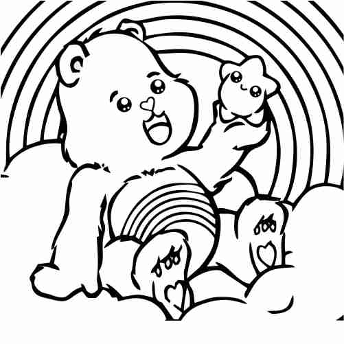 Care Bear With Rainbow And Stars Coloring Pages