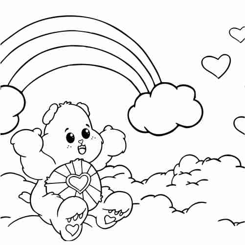 Loving bear with love on rainbow coloring pages
