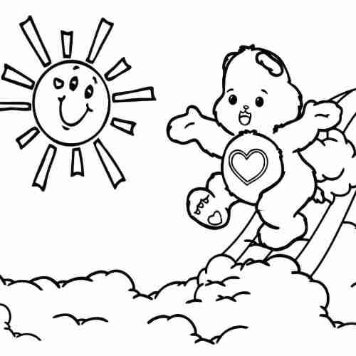 kawaii loving bear in rainbow coloring pages