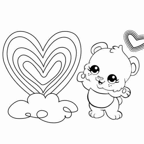 Kawaii baby teddy bear with rainbow heart coloring pages