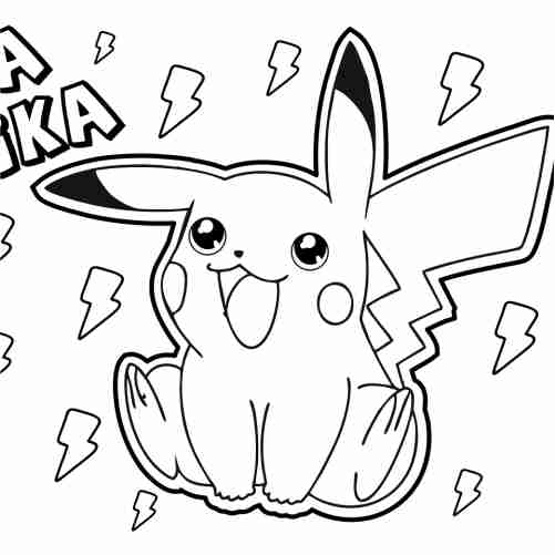 kawaii happy pikachu coloring pages