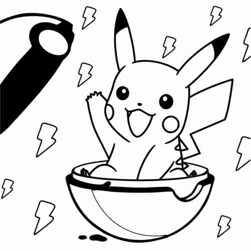 kawaii Pikachu on pokeball coloring pages