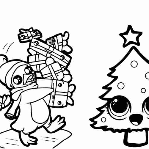 Kawaii penguin at christmas with friends coloring pages