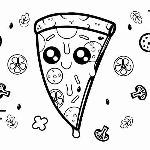 kawaii pizza coloring page for kids