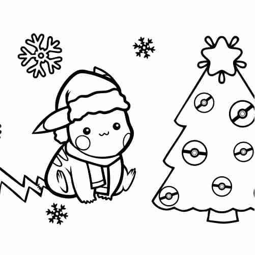 kawaii Pikachu at christmas coloring pages