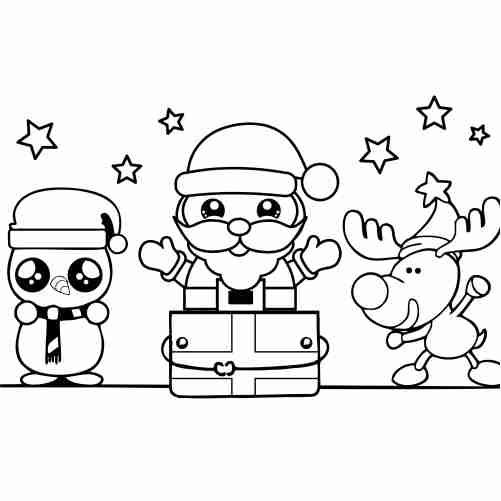 kawaii Santa at christmas with reindeer and snowman coloring pages
