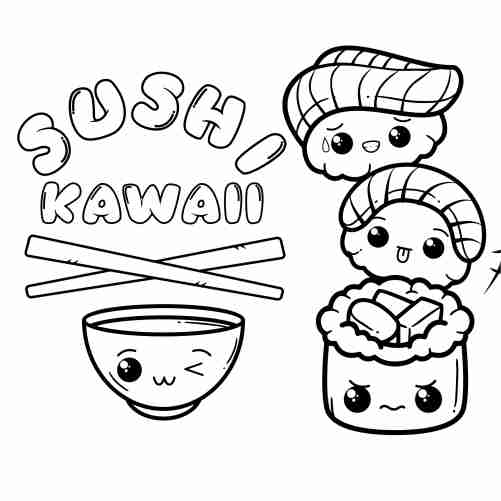 kawaii happy sushi coloring pages