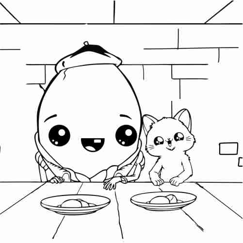 kawaii happy friends Egg and cat eating together coloring pages