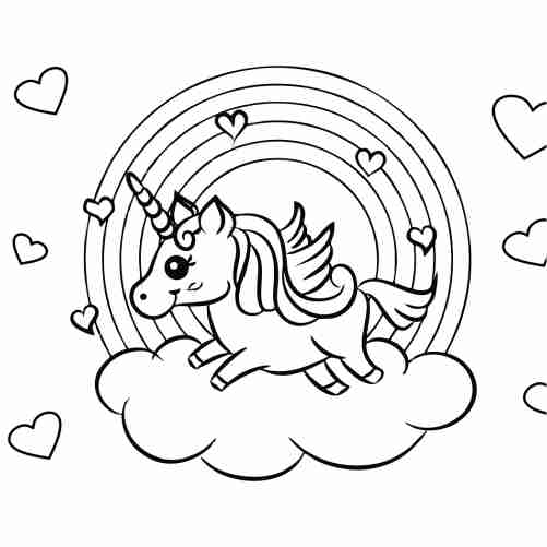 Kawaii unicorn with rainbow and hearts coloring pages