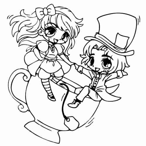 funny alice and the mad hatter coloring pages