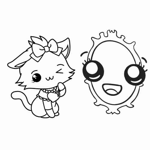 Kawaii cat and mirror coloring page