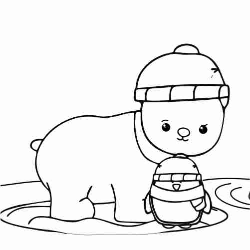 kawaii friends bear and penguin coloring pages