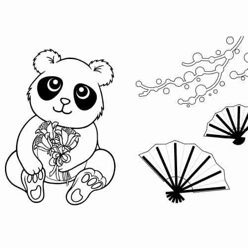 nice Panda with flowers coloring pages for kids