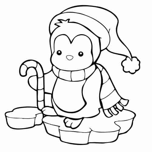 Kawaii penguin coloring pages for kids