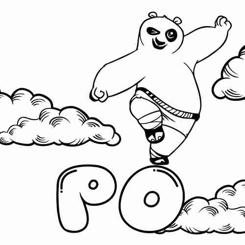 kawaii Po Kung fu panda coloring pages