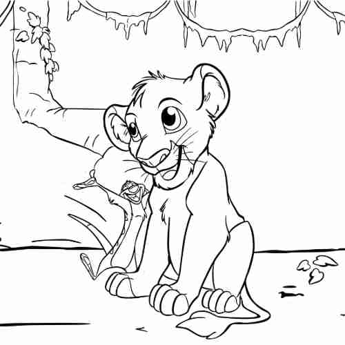 Simba easy coloring pages