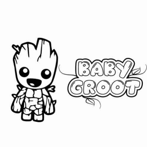Baby groot coloring pages for kids