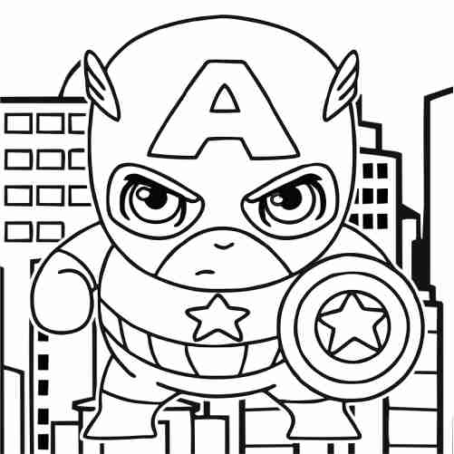 Kawaii Captain America Coloring Pages