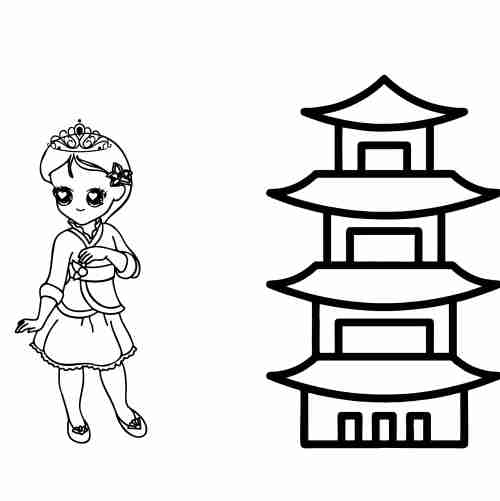 Cute Asian princess coloring pages
