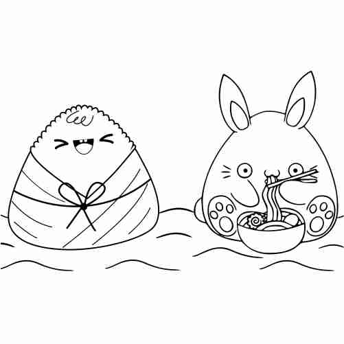 Funny kawaii rabbit and rice coloring page