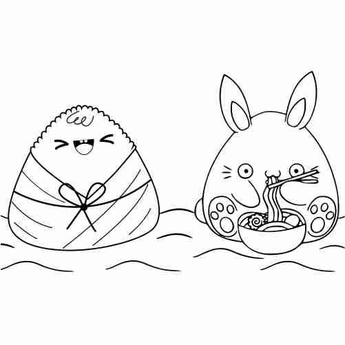 Funny kawaii rabbit and rice coloring page