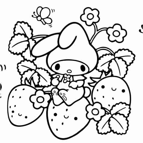 Kawaii rabbit and strawberries coloring pages