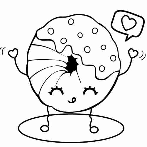 Happy kawaii donut coloring pages for kids