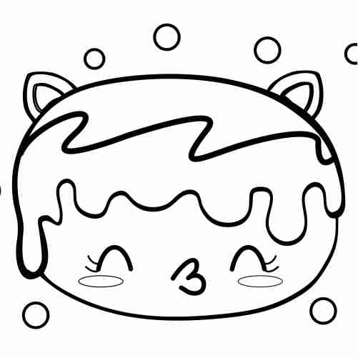 Kawaii kitten donut coloring pages