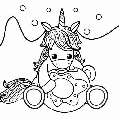 kawaii unicorn and donut and coloring pages