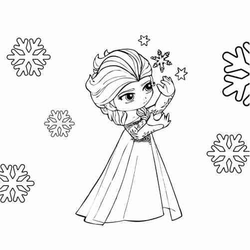 kawaii Elsa coloring pages for kids
