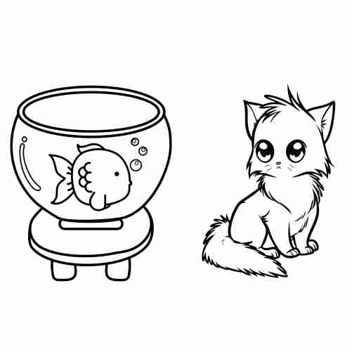 kawaii happy friends cat and fish coloring pages