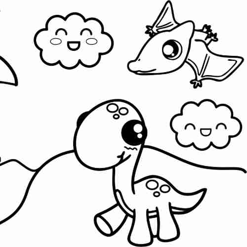 happy friends kawaii Dinosaur and bat for coloring pages