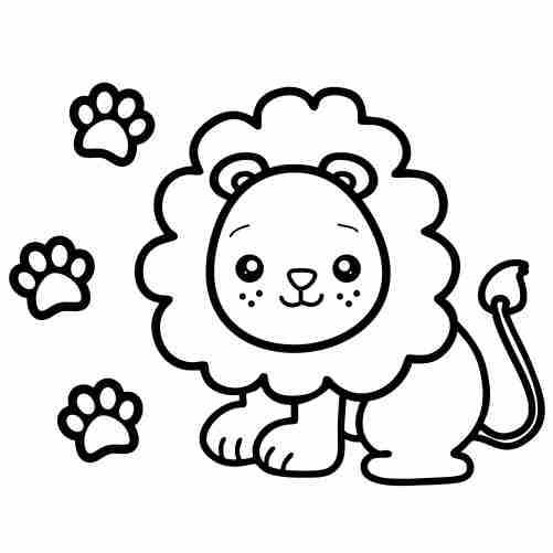 Kawaii baby lion coloring pages