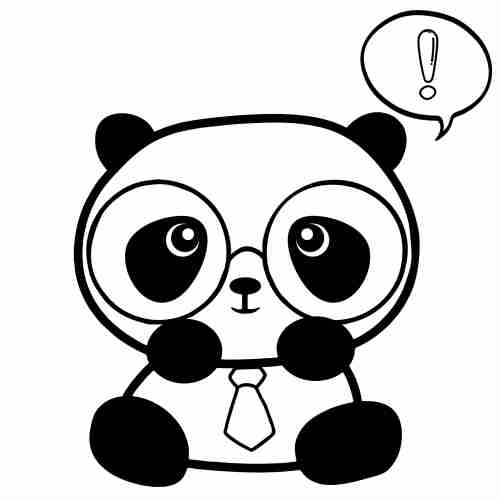 Panda hipster easy Coloring Pages