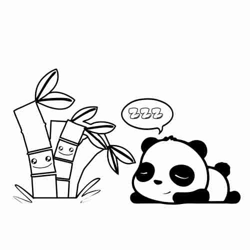 Kawaii Sleepy Baby Panda Coloring Pages