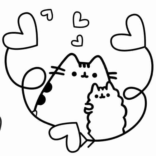 Pusheen in love coloring pages for kids