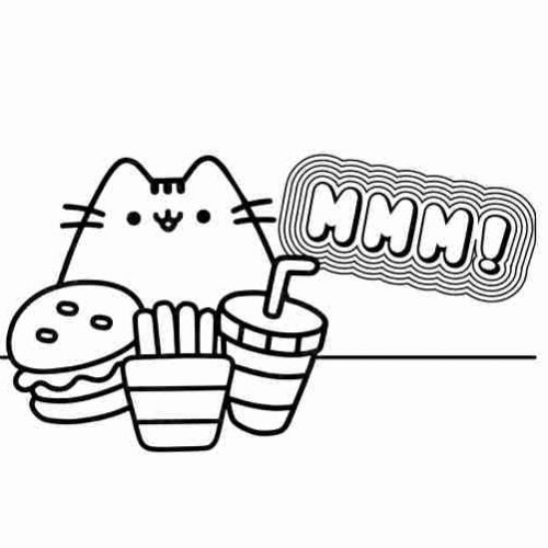 Pusheen eating delicious hamburger coloring pages