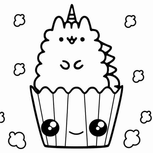 Pusheen unicorn in popcorn box coloring pages