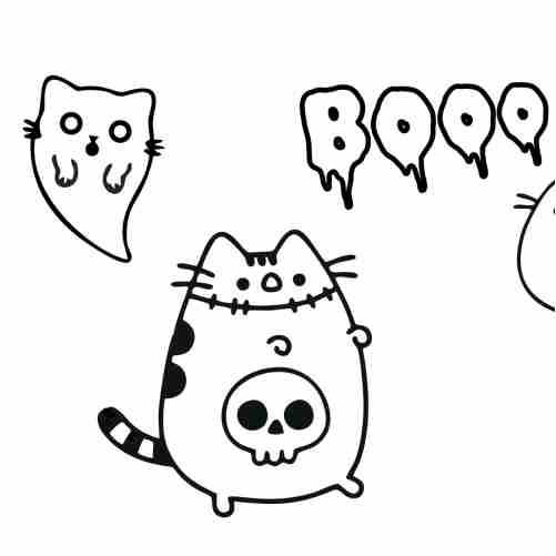 Pusheen on Halloween coloring pages