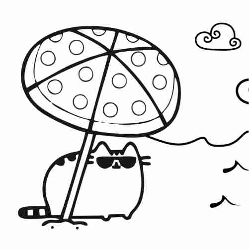 Pusheen kitten on the beach coloring pages