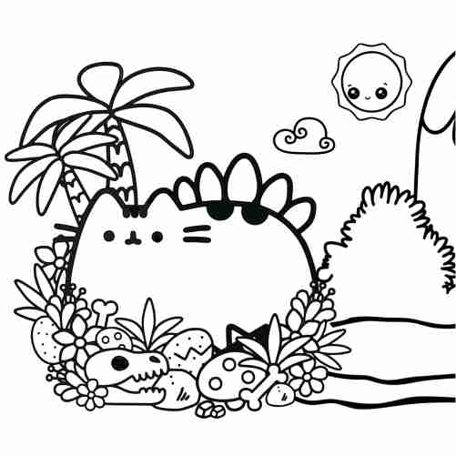 Pusheen from prehistory coloring pages